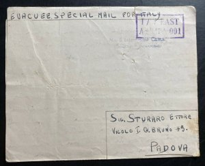 1943 Southern Rhodesia Prisoner of War POW Camp 5 Letter Cover To Padova Italy