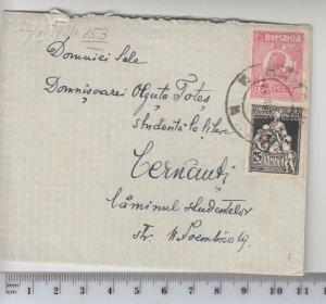 Romania 1926 COVER CERNAUTI Ukraine USED POST SMALL LETTER SIZE