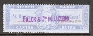 Switzerland Luzern Canton Early Issue Fine Used 10c. 082677