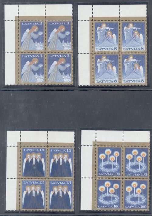 Latvia Sc 385-8 1994 Christmas stamps Blocks of 4 mint NH