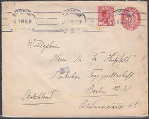 DENMARK 1919 10ore envelope uprated with 10ore stamp used to Germany.......53848