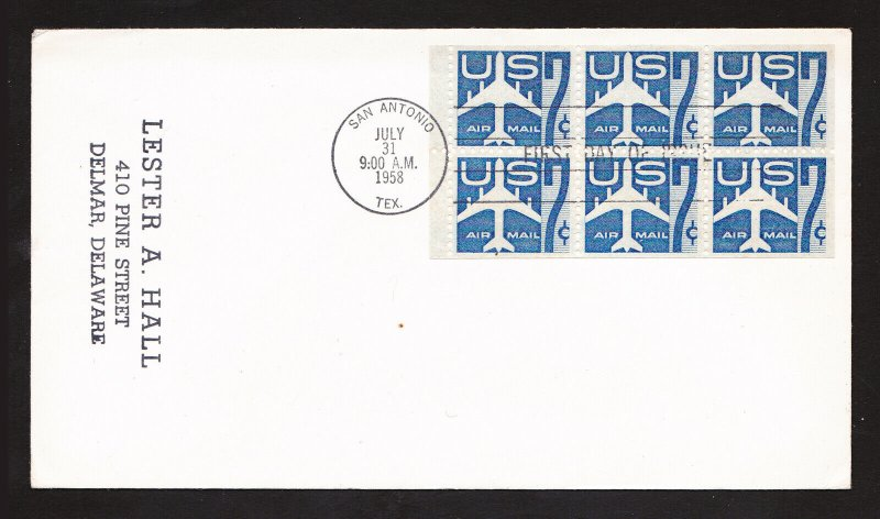 US SCOTT #C51A BOOKLET PANE SILHOUETTE OF JET AIRLINER FDC UNCACHETED 1958