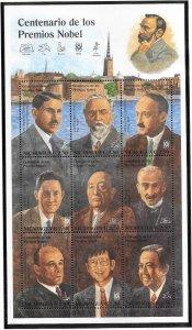 Nicaragua #2134  Nobel Peace Prize Winners Sheet 0f 9 (MNH) CV$6.75