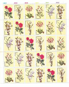 Flowers Poster Stamps Labels Various Florals Sheet 30 MNH Cinderellas