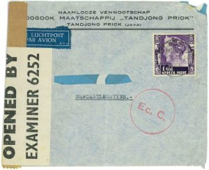 93680 - DUTCH INDIES - POSTAL HISTORY - CENSORED Airmail  COVER to GB 1941