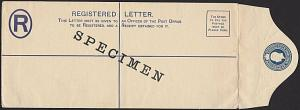 ST LUCIA GV 3d scarce long type registered envelope optd SPECIMEN...........1434
