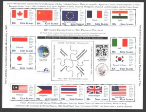 Cook Islands. 2012. Small sheet 1740-53. Flags of countries coin. MNH.