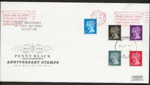 10/1/1990 PENNY BLACK ANNIVERSARY-DOUBLE HEAD MACHIN SET RARE CD-SLOGAN FDC