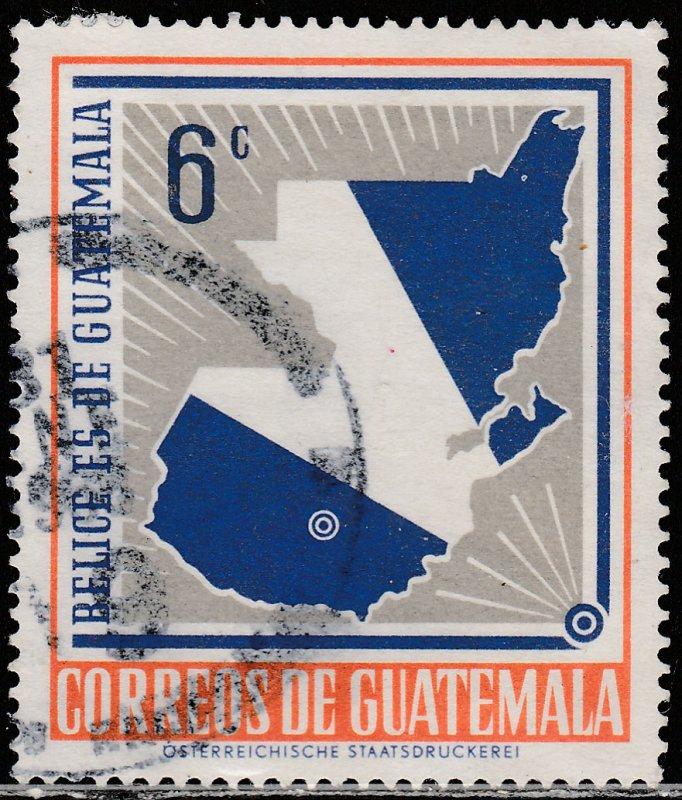 GUATEMALA 398, MAP INCLUDING BELIZE, USED, VF. (403)