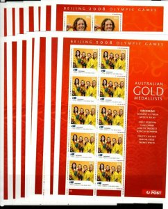 AUSTRALIA SG3038/51B 2008 GOLD MEDAL WINNERS AT OLYMPIC GAMES SHEETLETS MNH