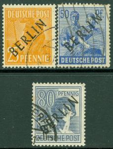 EDW1949SELL : GERMANY Berlin 1948 Sc #9N10, 13, 15 Key Values VF, Used. Cat $108