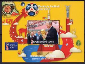Congo 2018 World Cup Football Russia 2018/Yuri Gagarin Space S/S Perforated MNH