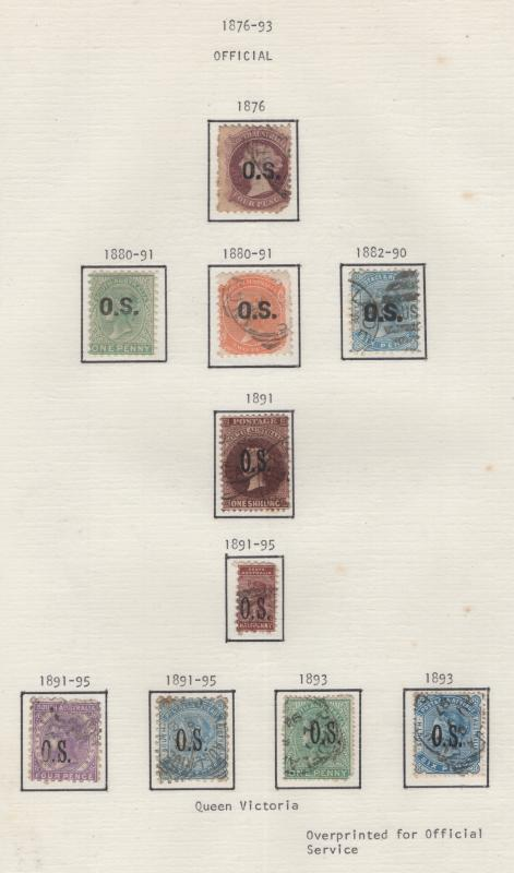South Australia 1876-95 OVP Official Selection 10 Stamps F