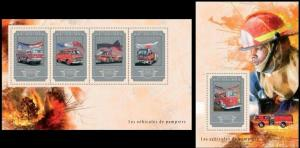Guinea 2014 fire enginers car transport klb+s/s MNH
