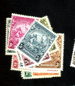 BARBADOS #193-201A MISSING 197A MINT F-VF OG LH/HR Cat $40