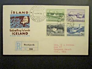 Iceland SC# 290, 292, 294, 295 on 1956 FDC - Z4657