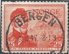 Norway 282 (used) 25ø Christian Magnus Falsen (1947)