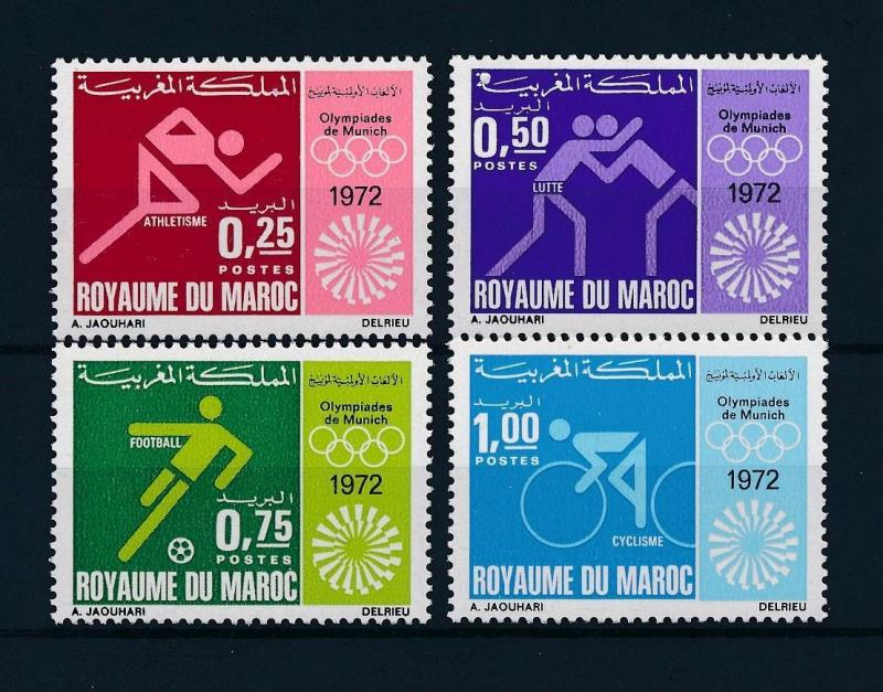 [55469] Morocco 1972 Olympic games Wrestling Football Cycling MNH
