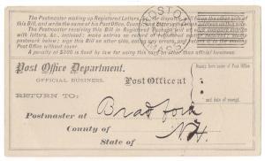 Early Leavitt Machine Cancel Registry Receipt card Odd item!