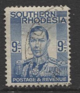 Southern Rhodesia- Scott 48 - KGVI - Definitive -1937 -FU- Single 9d Stamp
