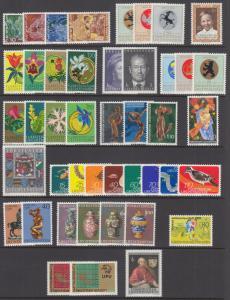 Liechtenstein Sc 454//552 MNH. 1969-1974 issues, 16 complete sets, VF
