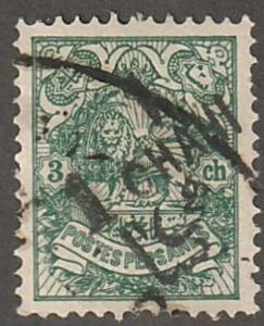 Persian stamp, scott# 364a, black surcharge,3 ch blue/green stamp crj-255