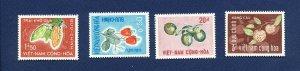 VIETNAM - # 301-304  - - VFMNH - fruit, nuts, trees - 1967