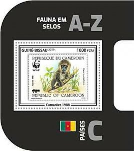 Guinea-Bissau - 2019 WWF Fauna Stamp on Stamp - Souvenir Sheet - GB190403b08