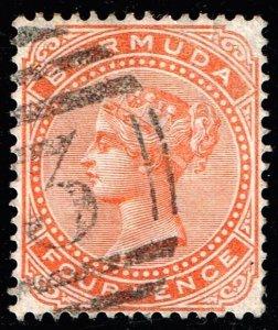 UK STAMP BERMUDA 1880 Queen Victoria 4P USED STAMP XFS SUPERB