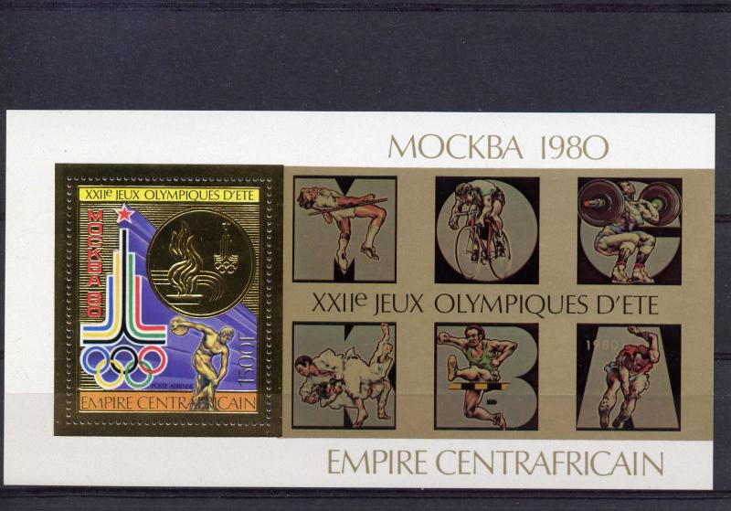 Central African Empire 1979  Olympics Moscow 80  S/S Gold Perf.Michel #BL65