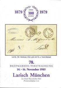 Larish: Sale # 78  -  78. Briefmarken-Versteigerung, A. L...