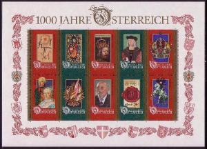 Austria 1000 years of Austria MS SG#2436-2445 MI#Block 12