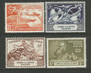 Turks & Caicos Islands 1949 UPU 75th Anniversary Set Average Mounted Mint
