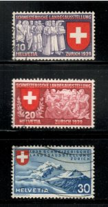 Switzerland # 250 - 252 , 1939 Exposition , VF Used Set of 3 - I Combine S/H