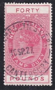 NEW ZEALAND 1880 LONG TYPE STAMP DUTY £40 used.............................87556
