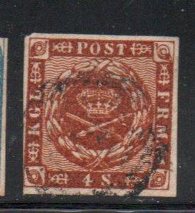 Denmark Sc 4 1854 4 s brown  Royal Emblems stamp used