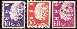 Sweden  Scott  386-388  Used