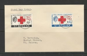 St Helena FDC 1963 Red Cross, Plain, cds used, Typed address