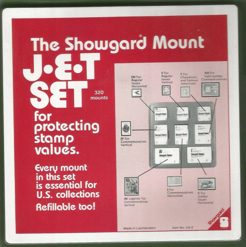 Showgard  CLEAR Stamp Mounts JET Set US2 8 Sizes in Tray 320 Total