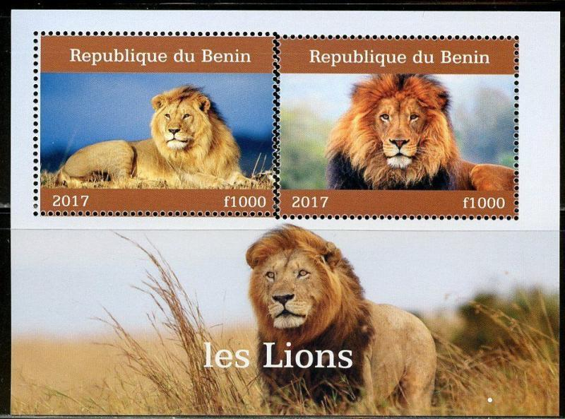 BENIN 2017  LIONS  SET OF TWO SHEETS OF TWO MINT NH