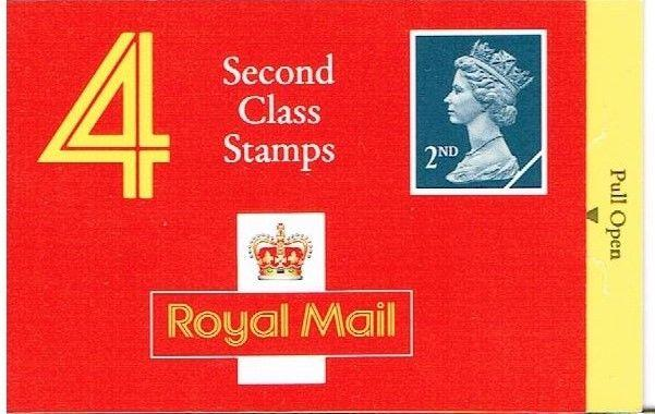 GREAT BRITAIN 1991 - SECOND CLASS STAMPS X 4 BARCODE BOOKLET