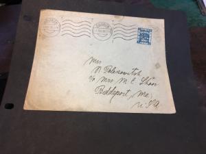 Palestine to USA 3m Blue Stamp Scott 50 Tied by Jerusalem/1 DEC/26 Machine Csl