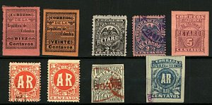 Colombia Ad-Hoc Range of AR Issues (9v) Used Stamps
