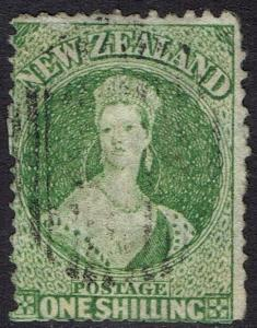 NEW ZEALAND 1864 QV CHALON 1/- WMK LARGE STAR PERF 12.5 USED