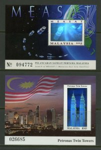 MALAYSIA  GROUP OF TWO HOLOGRAPH  SOUVENIR SHEETS AS SHOWN  MINT  NH