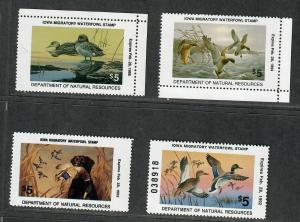 Iowa Sc#19-22 M/NH/VF, State Duck Stamps, Cv. $40
