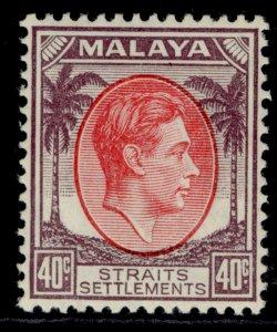 MALAYSIA - Straits Settlements GVI SG288, 40c scarlet & purple LH MINT. Cat £19.