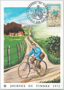 63534  -  FRANCE - POSTAL HISTORY: MAXIMUM CARD 1972 - BICYCLE Journee du Timbre
