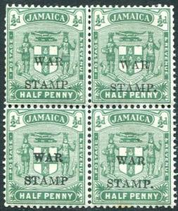 JAMAICA-1917 ½d Blue-Green War Stamp Unmounted Block of 4 one with no stop