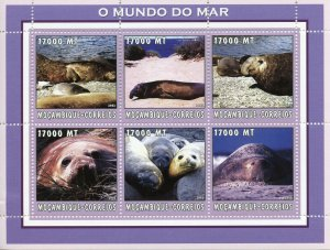 Mozambique 2002 MNH Seals Sea Lions 6v M/S Marine Mammals Wild Animals Stamps
